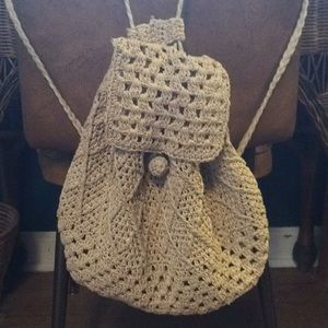 Handbags - Straw Drawstring Backpack Bag